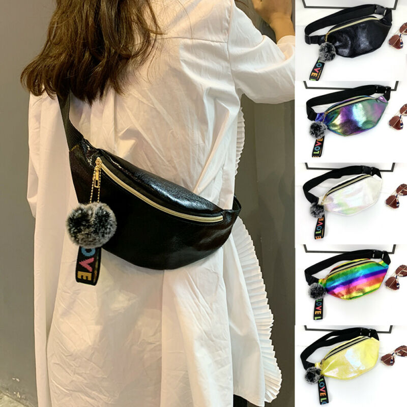 Women Waist Bag Girls Laser PU Fanny Pack Pouch Hip Bum Bags With PLush Ball Pendant New Fashion