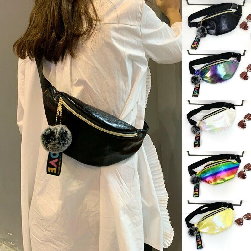 Women Waist Bag Girls Laser PU Fanny Pack Pouch Hip Bum Bags With PLush Ball Pendant New Fashion