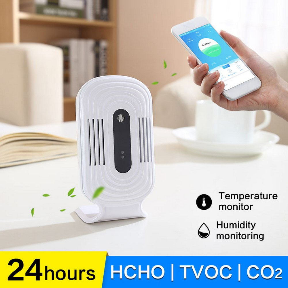 LCD Intelligent WIFI Home Smog Meter CO2 HCHO TVOC Air Quality Analysis Tester Detector Sensor Temperature Humidity Monitor
