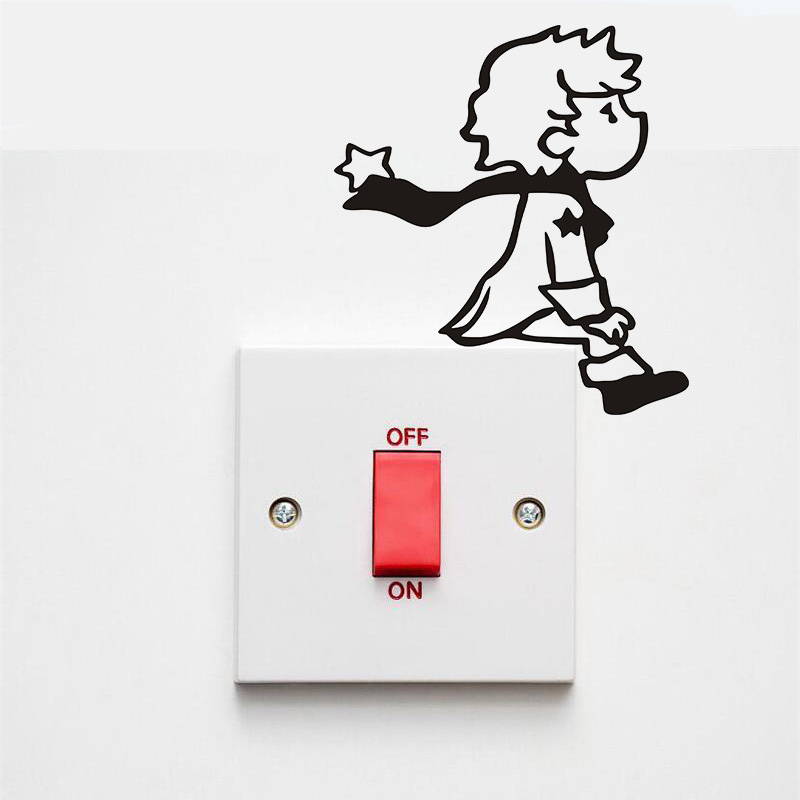 Cartoon Little Boy Switch Wall Sticker For Kids Rooms Vinyl Home Decor Art Decals Removable Lovely Switch Decoration Stickers