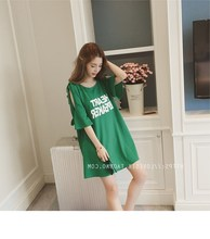 Spring and summer loose large version of cartoon long T-shirt skirt female half sleeve Korean pregnant