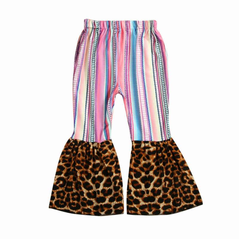 Nova marca crianças calças da criança do bebê menina perna larga leopardo calças compridas lote algodão retalhos outono moda quente 2019