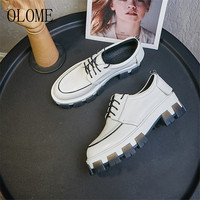 OLOME New Fashion Spring Black Red White Cow Leather Women Flat Shoes Cross Tied Shallow Mouth Black Women Flats Shoes Woman
