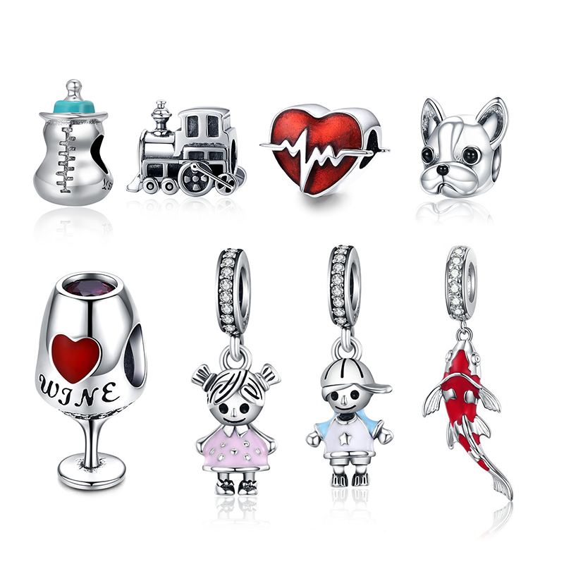 CodeMonkey Authentic 925 Strerling Silver Red Koi Charms Fit Original Pandora Bracelet Beads DIY Jewelry For Women CMC085
