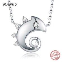 цена MANBU hot Sale chameleon chain necklace 925 sterling silver pendant necklace gift womens necklaces jewelry Necklaces Pendants CZ онлайн в 2017 году