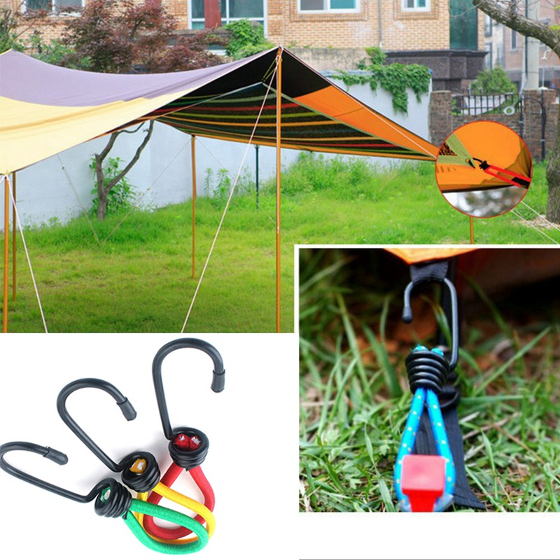 15cm Camping Tent Clasps Durable Tent Elastic Rope Buckle Fixed Binding Strap Camping Accessories Random Color