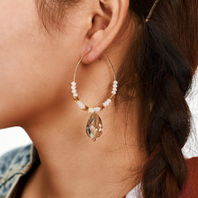 Cross border new accessories Bohemian Crystal Earrings retro white rice Bead Earrings Ring Earrings female(China)