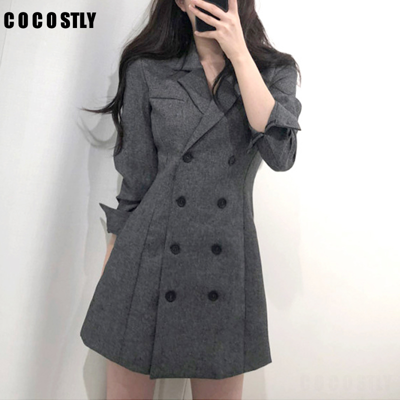 2019 Autumn Blazer Women Long Section Suit Female Double Breasted Waist Slimming Retro Dress Overalls Suit Jacket Female