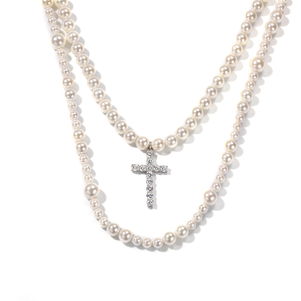 2020 Europe Hot Sale new Hip Hop Exaggeration Cross 8-10mm Pearl Necklace Pendant Fashion Ice Out Men And Women Jewelry Gift