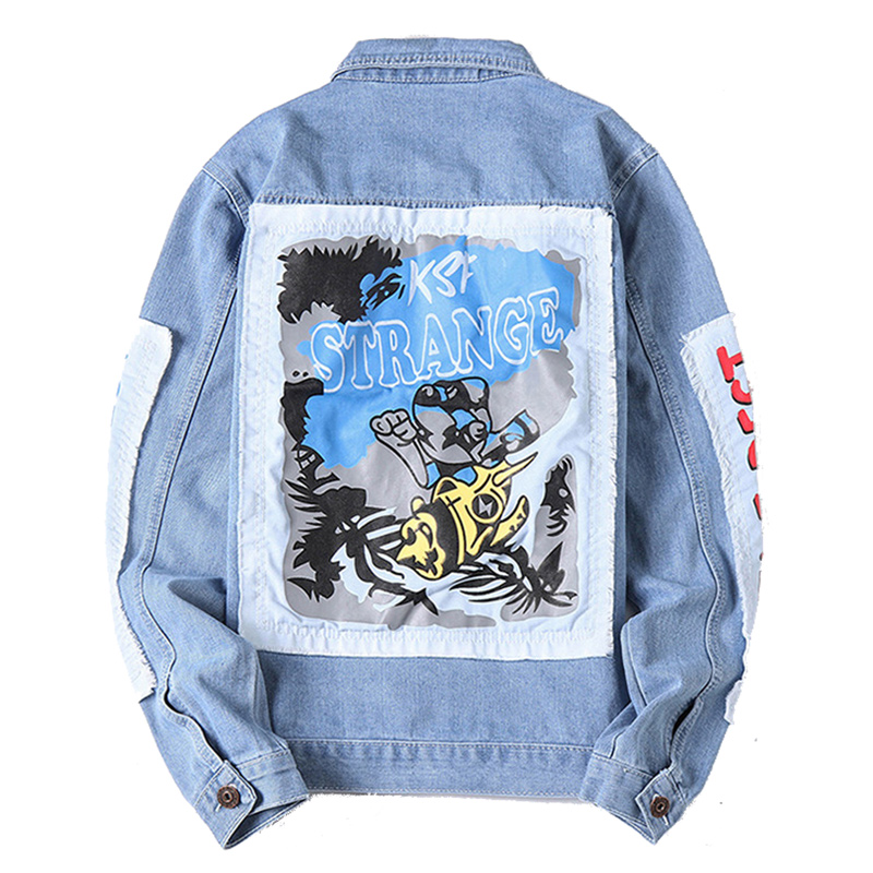 Mens Denim Jackets Hole Ripped European America Fashion Cowboy Brand Coats Male Graffiti Jeans Jacket Outerwear Overcoats DS049