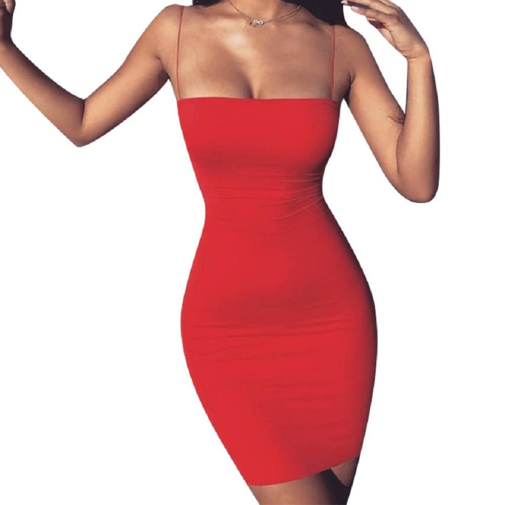 Новинка, горячее предложение, женские летние одноцветные Сексуальные облегающие Мини платья, вечернее платье без рукавов, Клубная одежда, облегающее платье - Цвет: Красный