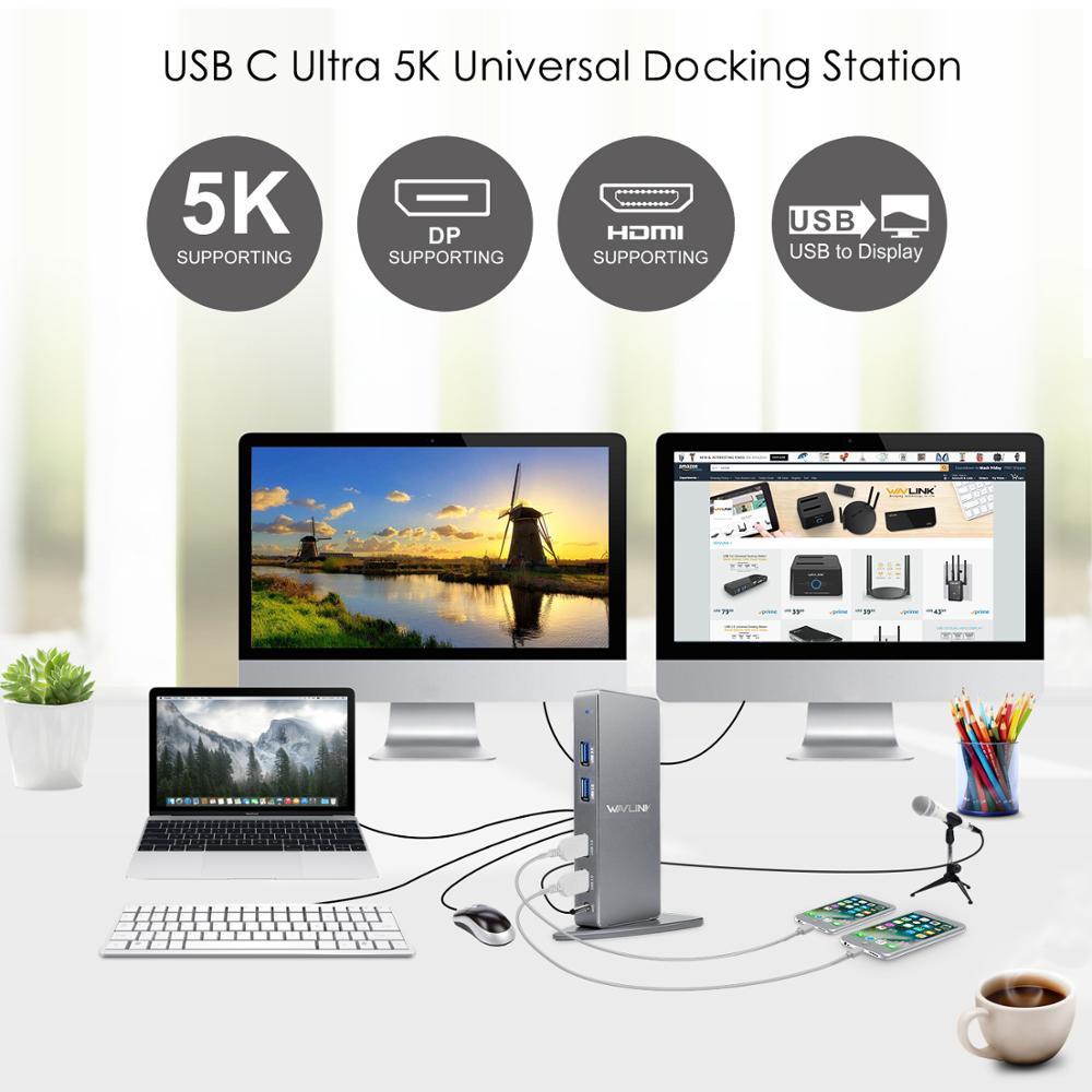 Image 5 - Wavlink uniwersalna stacja dokująca USB3.0 Laptop 5K podwójna stacja dokująca 4K wideo HDMI HD Gigabit Ethernet typ C USB 3.0 dla MACStacje dokujące do laptopów   -