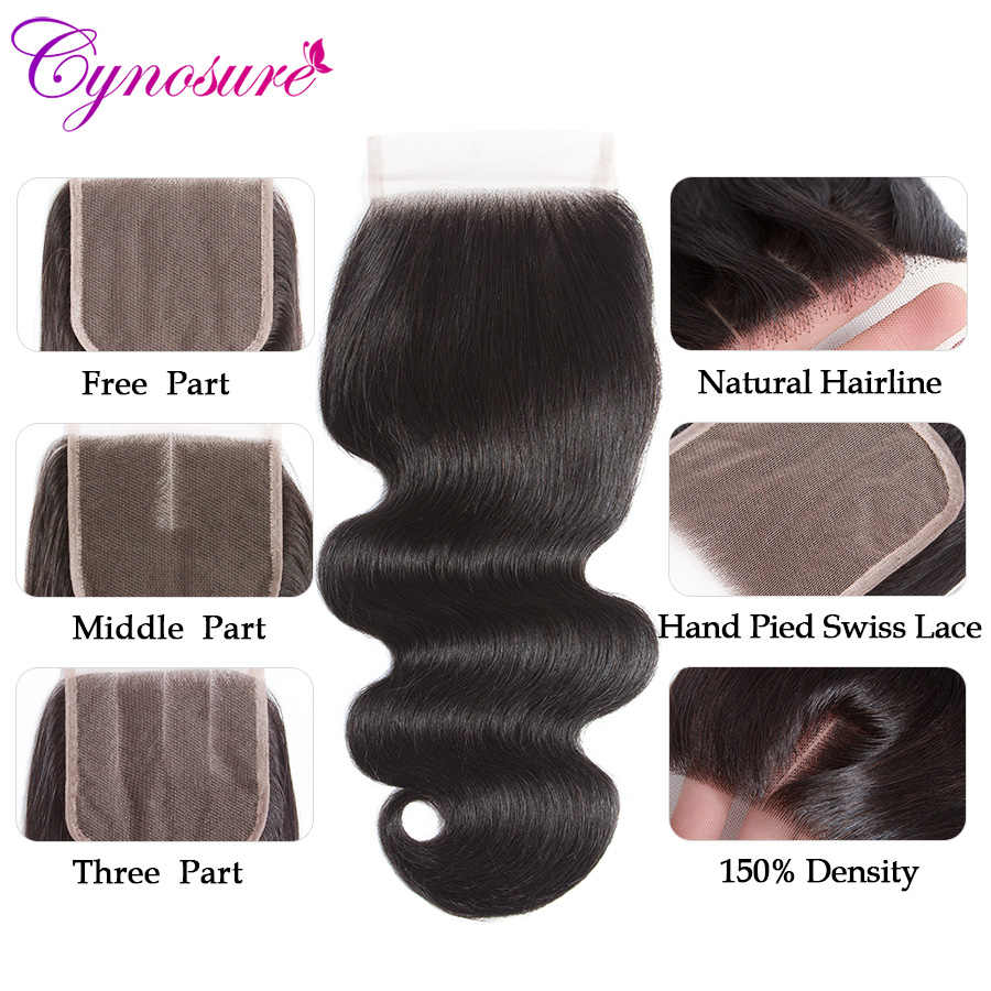 Cynosure HD شفاف الجسم موجة الشعر البشري حزم مع إغلاق مزدوج لحمة ريمي ضفيرة شعر برازيلي 3 حزم مع إغلاق