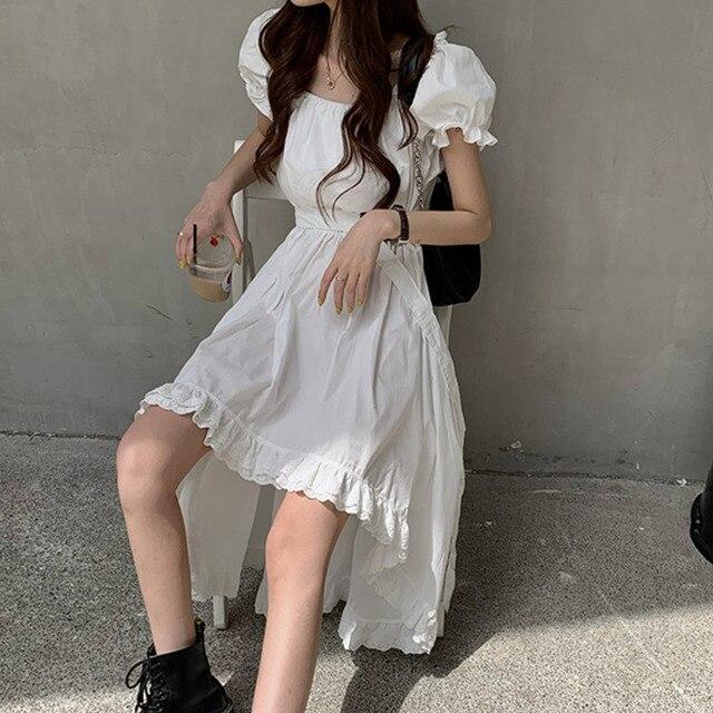 Elegant Casual  Summer Dress   Vintage Puff Sleeve Irregular Lace  4
