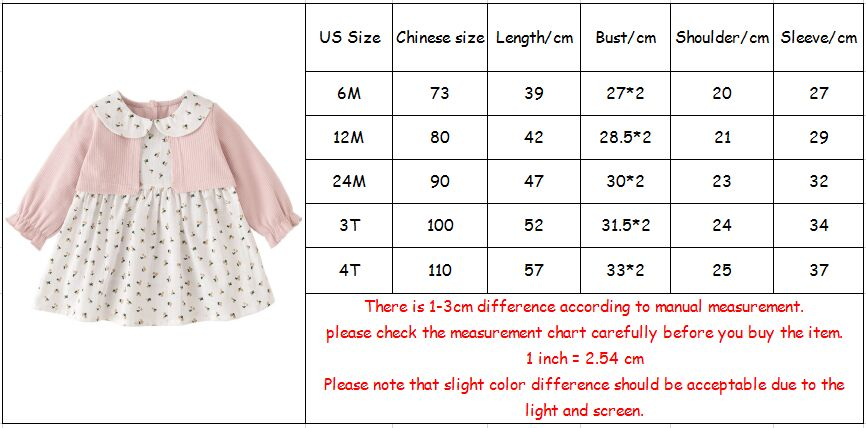 Image 5 - Girls Dress Peter Pan Collar Print Princess Girls Dresses Autumn Clothes For Kids Costume Girls Casual Wear 0 5YDresses   -