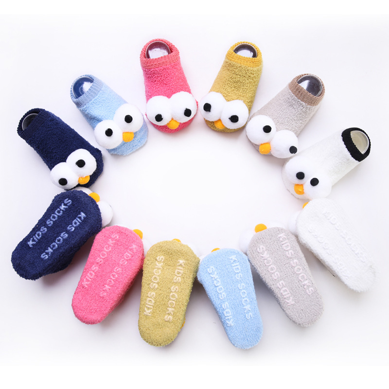 Spring And Summer New Style Cartoon With Big Eye Baby Floor Socks Anti-slip Learner Baby Socks 0-1-3-Year-Old Children No-show S