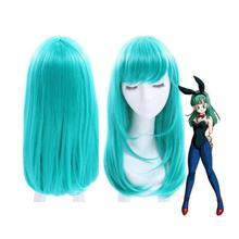Dragon Ball Bulma Средний длинный прямой челка Зеленый парик для косплея парики из натуральных волос для вечеринки