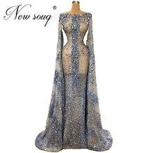 사우디 아라비아 2020 보트 넥 이브닝 드레스 vestidos를 통해 볼 수 있습니다 구슬 장식 파티 드레스 여성 소녀 드레스 중동