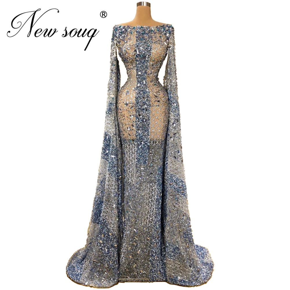 Saudi Arabia 2020 Boat Neck Evening Dresses With See Through Vestidos Customize Beading Party Gown Women Girl Dress Middle East