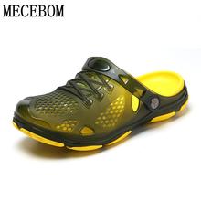 Mężczyźni Crocks Hole buty zielony ogród dorywczo gumowe drewniaki dla męskie sandały 2020 letnie slajdy odkryty plaża pływanie galaretki buty tanie tanio MECEBOM NONE LEISURE Z tworzywa sztucznego Slip-on Mieszkanie (≤1cm) Pasuje prawda na wymiar weź swój normalny rozmiar