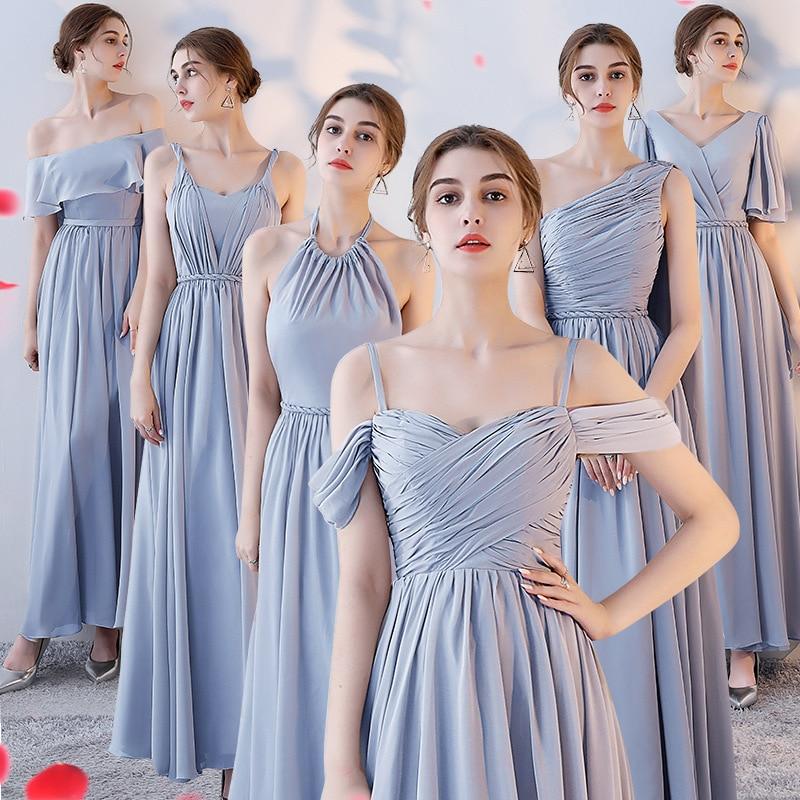New Chiffon Silver Gray Bridesmaid Dresses Elegant Wedding Party Dresses Vestido De Festa Sexy Backless A Line Dresses Gala Gown