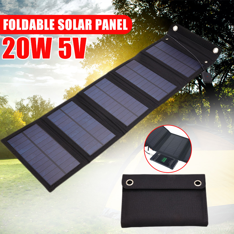 20W Solar Panels Folding Waterproof Sun Power Solar Cells Charger 5V 2A USB Output Devices Portable For Outdoor Camping Car