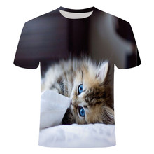 2021 New Cat Polyester Casual Men and Women Size Short-Sleeved Shirt