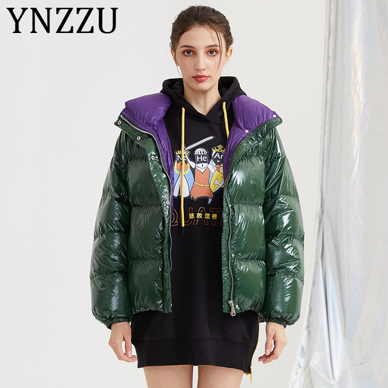 YNZZU Chic 2019 New Winter Jacket Women Casual Short Fluffy Duck   Down     Coat   Woman Thicken Warm Loose Bright Outwears A1121