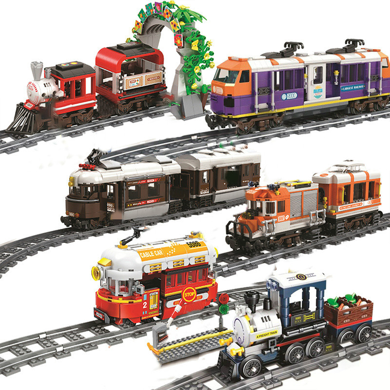 City Christmas Trains Track railway Rails sets Model building Blocks Sets Bricks Kid Toy Compatible All Brands christmas gifts