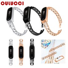 Oulucci Stainless Steel For xiaomi 3 4 watch band Replacement strap bracelet band Rose gold women For mi band 4 mi3 band Strap length adjustable strap bracelets for man women watch band style stainless steel net band christian cross prayer male jewelry