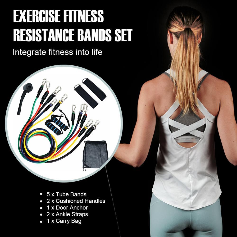 11Pcs Resistance Bands Set Yoga Exercise Fitness Band Rubber Loop Tube Bands Gym Fitness Exercise Pilates Yoga Brick