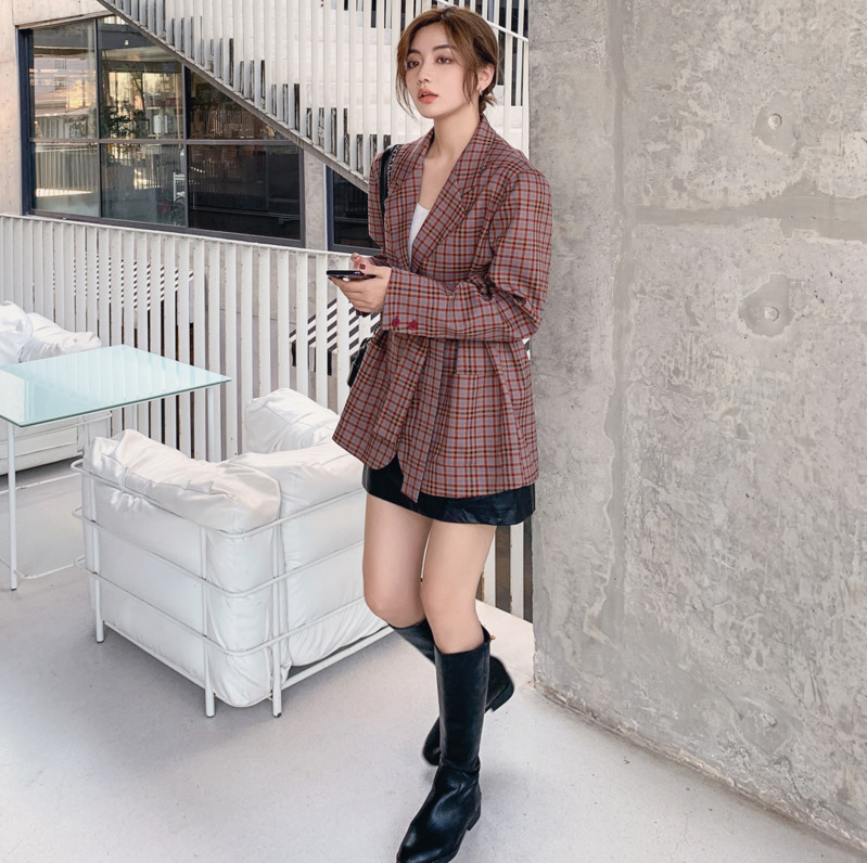 2020 Spring And Autumn New Youth Popular British Ladies Belt Waist Small Suit Fashion Casual Slim Plaid Jacket Coat Purple S-XL