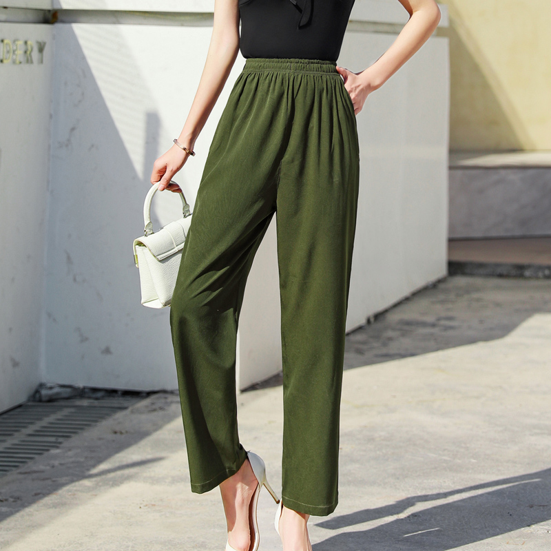 Women Casual Solid Pants Fashion Women Ladies Trousers  Summer Thin Loose Elastic Waist  Pant