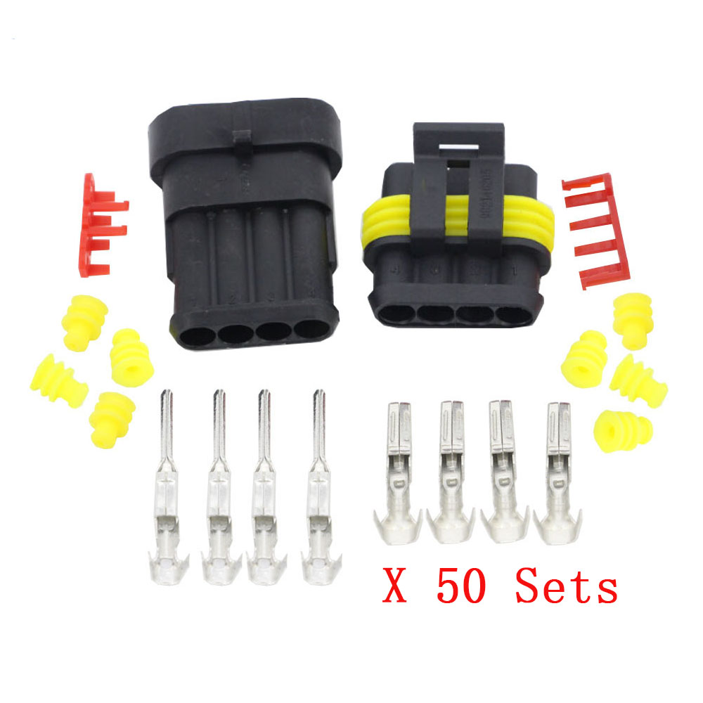 50 Sets 4 Pin AMP 1.5 connectors,DJ7041 1.5 Waterproof Electrical Wire Connector,Xenon lamp connector Automobile Connectorconnector vgaconnector barconnector boot -