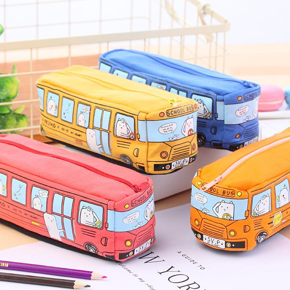 New Creative Pencil Bag Multifunctional Bus Large Capacity Canvas Pencil Case For Boys Girls Simple Pencil Box Stationery Gift