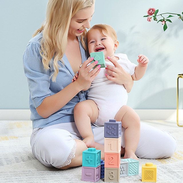 12Pcs Soft Baby Block Toddler Building Blocks High-quality PVC Materials Teething Chewing Bath Toy For 6 Months Baby 2