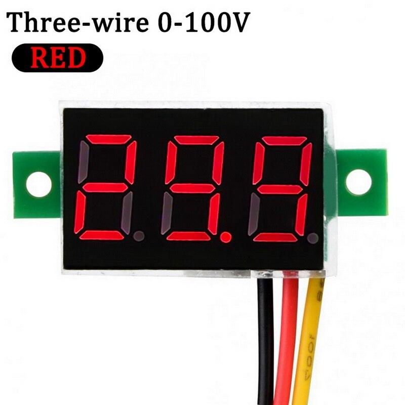 Junejour 1 Pcs Digital Voltmeter LED Display Mini 2/3 Wires Voltage Meter Ammeter High Accuracy Red/Green/Blue DC 0V-30V 0.36
