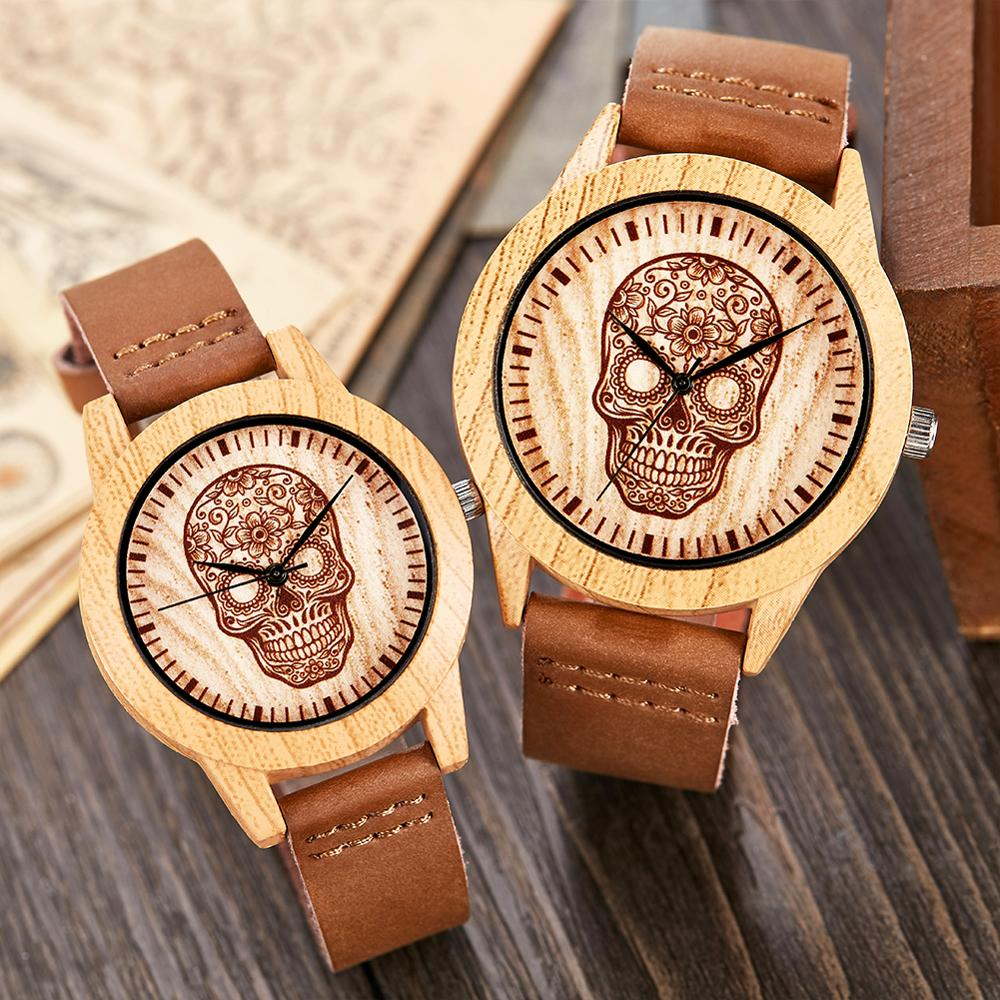 Creative Wood Watch Men Women Couple Quartz Imitate Bamboo Wooden Male Watch Watches Brown Leather Skull Head Wrist Clock Reloj