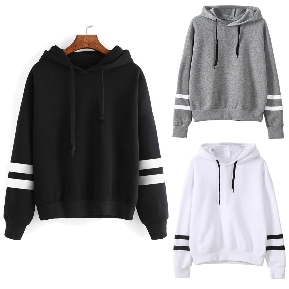Fashion Autumn Winter Women Sweatshirt With Hat Drawstring Long Sleeve Striped <font><b>K</b></font> <font><b>Pop</b></font> Korean Style Hoodies Ladies Girls Pullover image