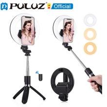 PULUZ Bluetooth Selfie Stick Anillo de luz LED con trípode de Smartphone llenando de luz Kit para Tiktok Video de Youtube con luz para selfies