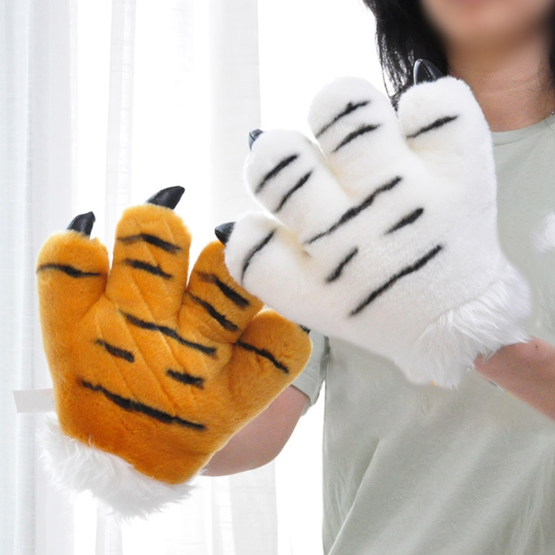 Simulation Tiger Paw Plush Gloves Striped Fluffy Animal Stuffed Toys Padded Hand Warmer Halloween Cosplay Costume Mitten Au17 21
