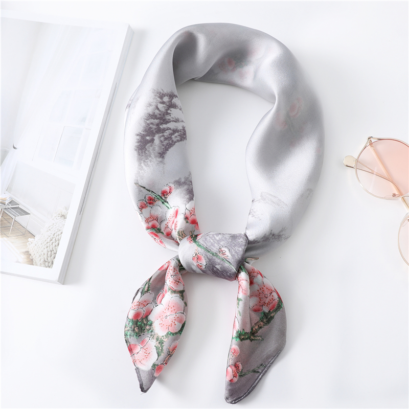 Elegant Plum Blossom Pattern Silk Scarf Women 2020 Spring New Neck Scarf Lady Bag Ribbon High Quality Kerchief Femme Shawl Wrap