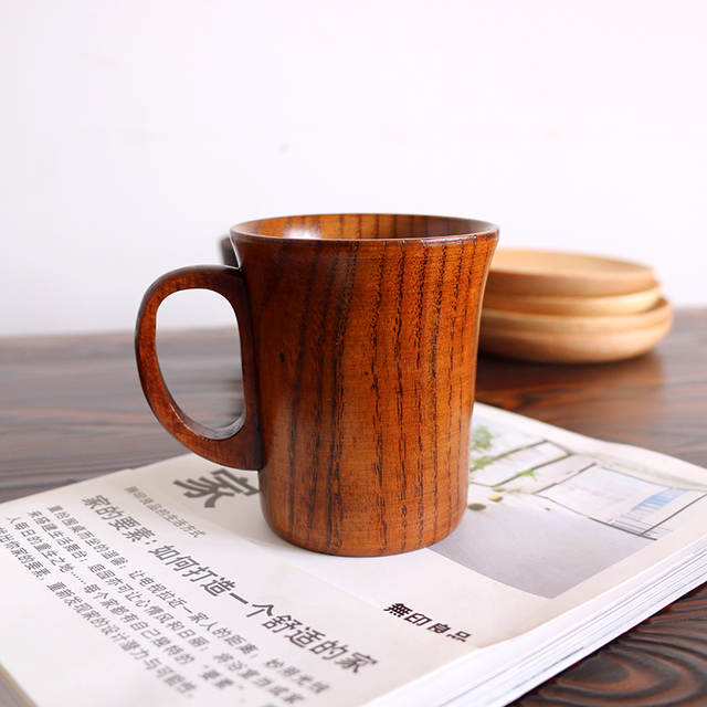 Chinese Portable Wood Coffee Mug Rubber Wooden Tea Milk Cups Water Drinking Mugs