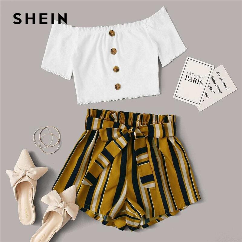 SHEIN Multicolor Lettuce Edge Bardot Crop Top And Paperbag Waist Shorts Set 2020 Summer Women Colorblock Bohemian Two Piece Sets