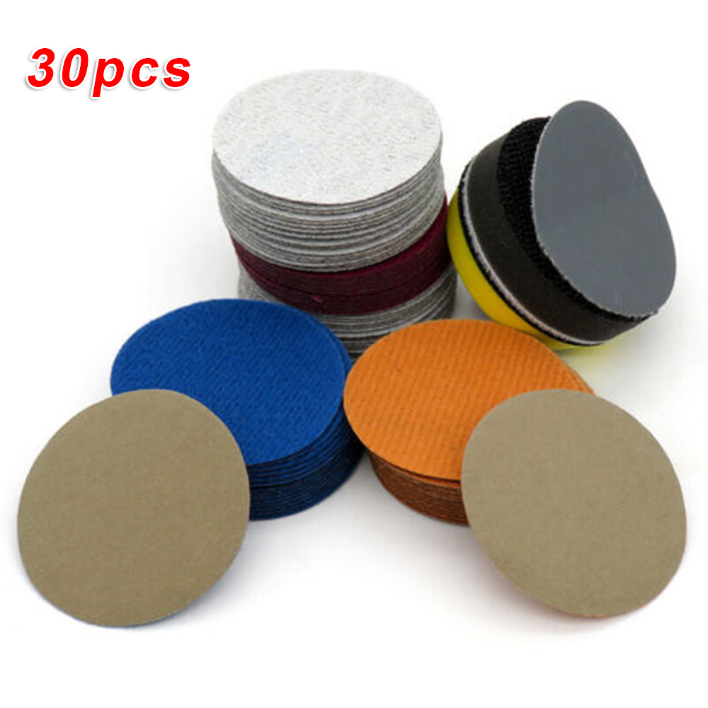 30Pcs 2 Inch 50mm Sanding Disc Wet And Dry Sander Sandpaper Disk Sand Sheets 240/600/1500/2000/5000/10000Grit Spare Part