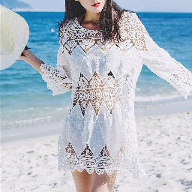 New Sexy Cover Up Bikini Women Swimsuit Cover Up Beach Bathing Suit Beach Wear Knitting Swimwear Mesh Beach Dress Tunic Robe 3