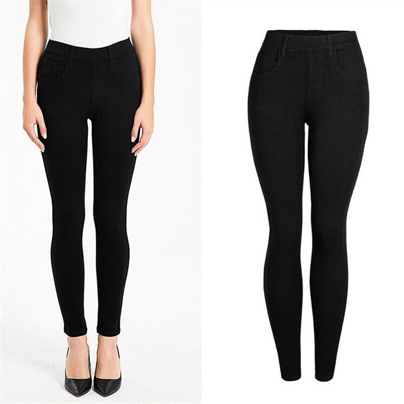 2020 Black white Solid Slim Jeans for Women Skinny Jeans Woman Denim Pencil Pants Stretch Waist Women Jeans Pants Calca Feminina