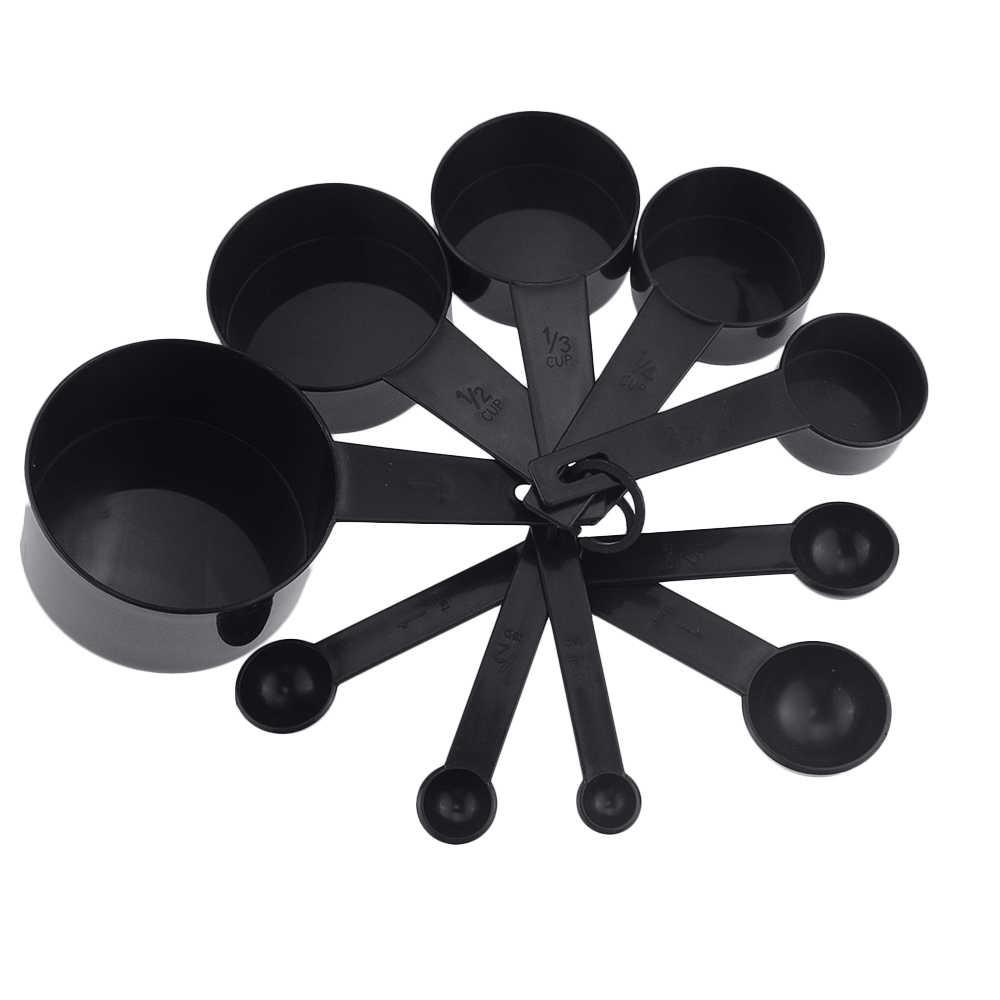 10 יח'\סט שחור צבע כוסות מדידה ומדידת כפית סקופ סיליקון ידית מטבח מדידת כלי