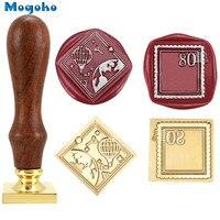 Mogoko 25mm quadrado selo de cera selo de madeira retro clássico selo de cera selos envelope cartões decoração antigo selo balão/selo