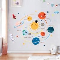 Solar System Wand Aufkleber Abziehbilder Für Kinder Zimmer Sterne Weltraum Planeten Erde Sonne Saturn Mars Poster Wandbild Schule Decor